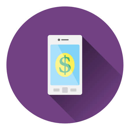 charges: Smartphone with dollar sign icon. Flat color design. Vector illustration. Illustration