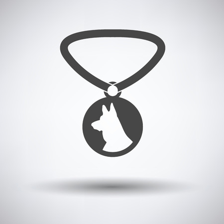 Dog medal icon on gray background with round shadow. Vector illustration.