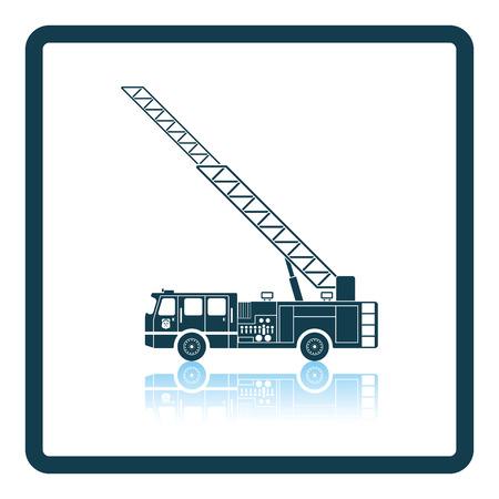 firetruck: Fire service truck icon. Shadow reflection design. Vector illustration.
