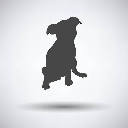 pet breeding: Puppy icon on gray background with round shadow. Vector illustration. Illustration