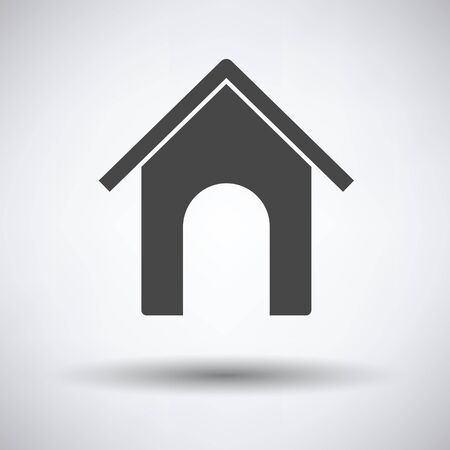 pet breeding: Dog house icon on gray background with round shadow. Vector illustration.