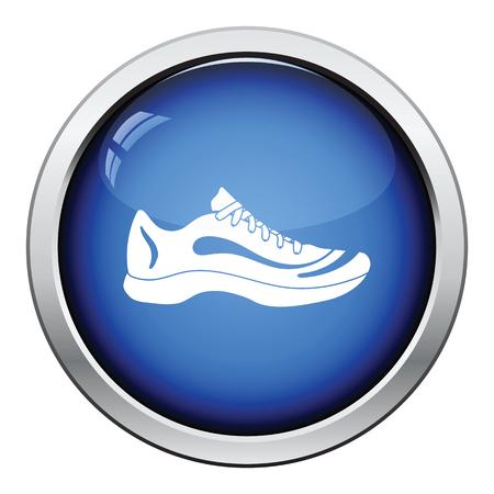 Sneaker icon. Glossy button design. Vector illustration.