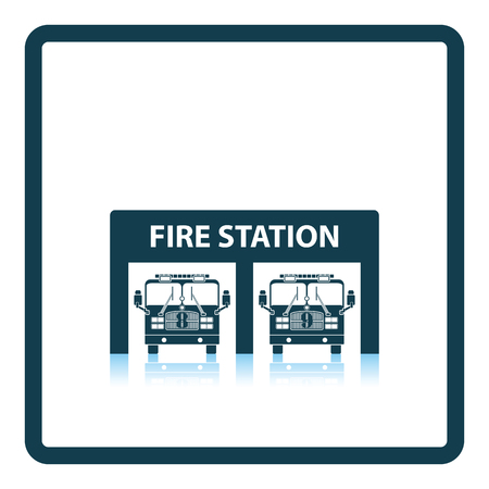 fire icon: Fire station icon. Shadow reflection design. Vector illustration.