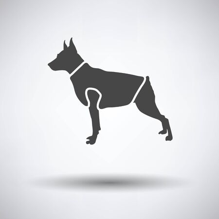 clothed: Dog cloth icon on gray background with round shadow. Vector illustration.