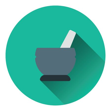 pestel: Mortar and pestel icon. Flat color design. Vector illustration.