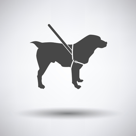 Guide dog icon on gray background with round shadow. Vector illustration.