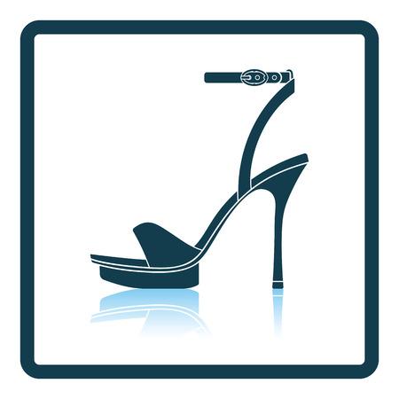 elegant woman: Woman high heel sandal icon. Shadow reflection design. Vector illustration. Illustration