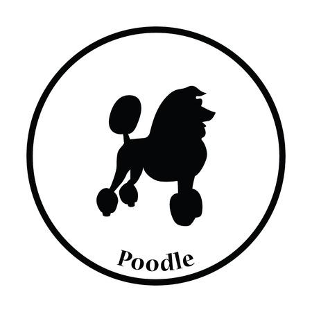 pet breeding: Poodle icon. Thin circle design. Vector illustration. Illustration