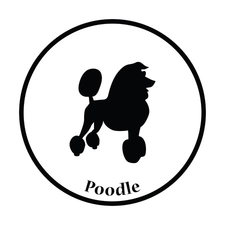 Poodle icon. Thin circle design. Vector illustration. Illustration
