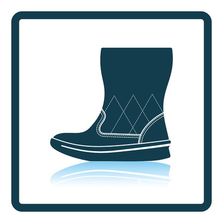 suede: Woman fluffy boot icon. Shadow reflection design. Vector illustration.