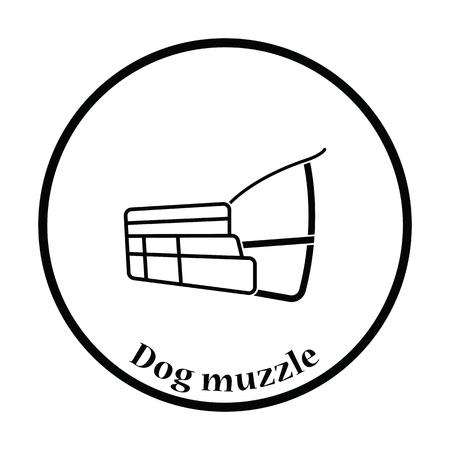 gauze: Dog muzzle icon. Thin circle design. Vector illustration.