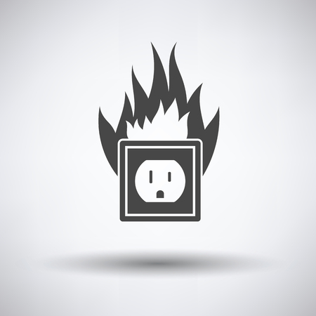 mains: Electric outlet fire icon on gray background with round shadow. Vector illustration.