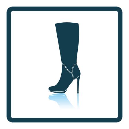 Autumn woman high heel boot icon. Shadow reflection design. Vector illustration.
