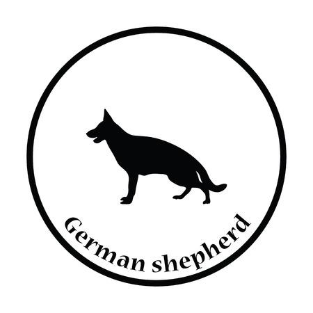 perro policia: German shepherd icon. Thin circle design. Vector illustration.