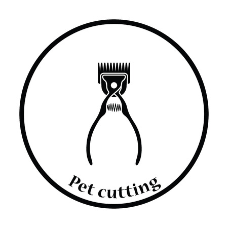 Pet cutting machine icon. Thin circle design. Vector illustration.