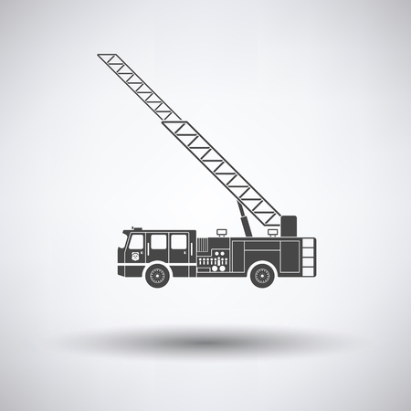ladder safety: Fire service truck icon on gray background with round shadow. Vector illustration. Illustration