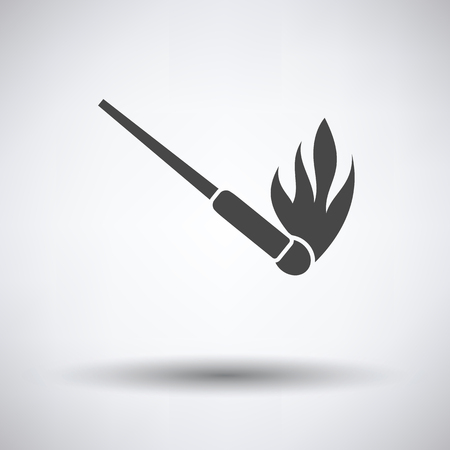 Burning matchstik icon on gray background with round shadow. Vector illustration.