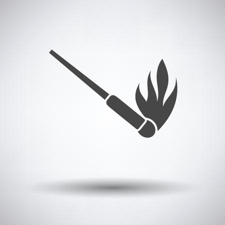 extinguishing: Burning matchstik icon on gray background with round shadow. Vector illustration.
