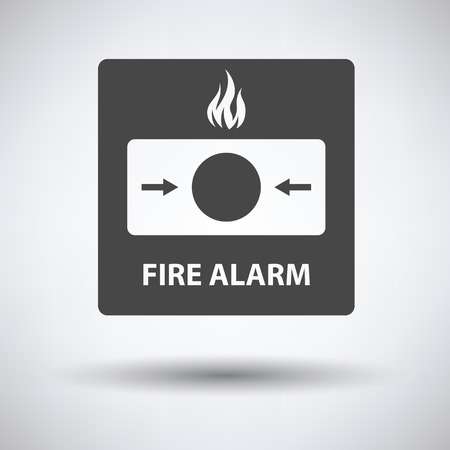 safe and sound: Fire alarm icon on gray background with round shadow. Vector illustration. Illustration