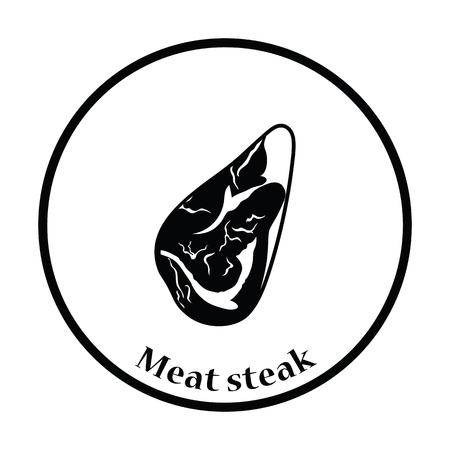 meat steak: Meat steak icon. Thin circle design. Vector illustration. Illustration