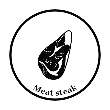 raw beef: Meat steak icon. Thin circle design. Vector illustration. Illustration