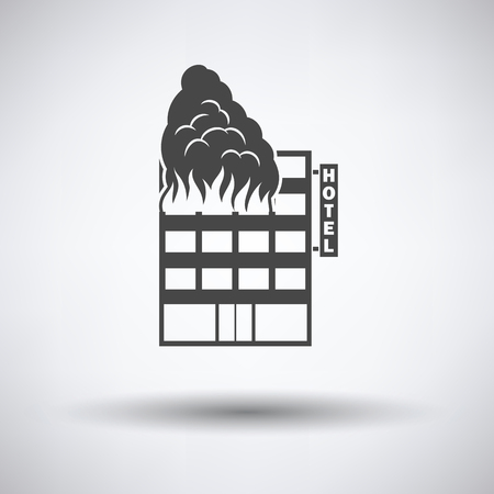 building fire: Hotel building in fire icon on gray background with round shadow. Vector illustration.