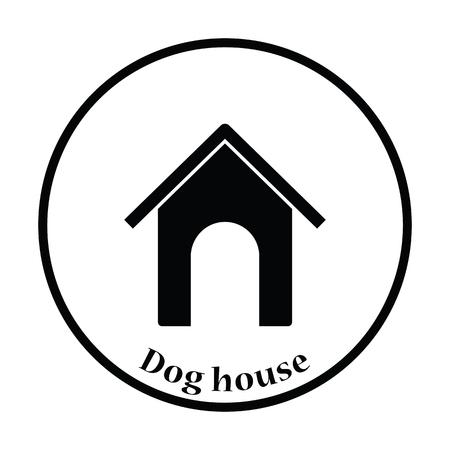 pet breeding: Dog house icon. Thin circle design. Vector illustration.