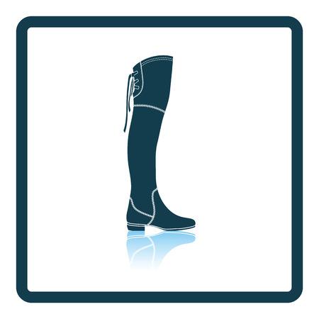 Hessian boots icon. Shadow reflection design. Vector illustration.
