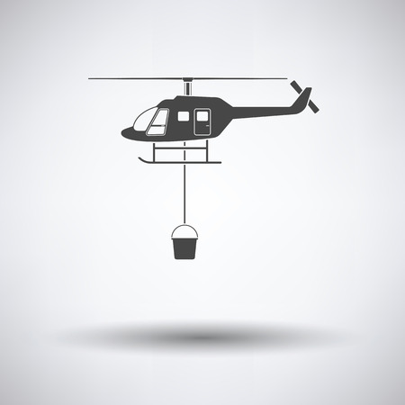 Fire service helicopter icon on gray background with round shadow. Vector illustration. Illustration