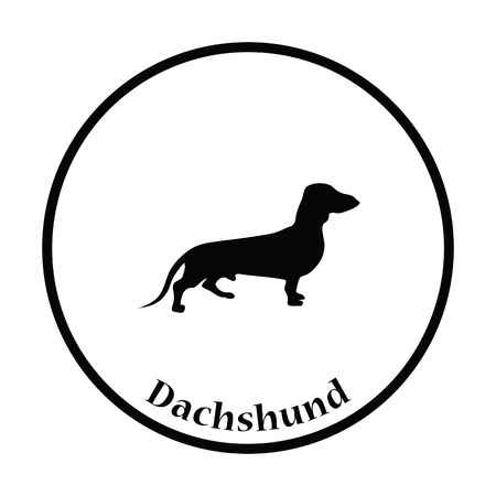 wag: Dachshund dog icon. Thin circle design. Vector illustration. Illustration