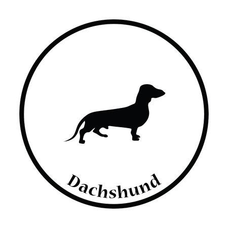 Dachshund dog icon. Thin circle design. Vector illustration. Illustration