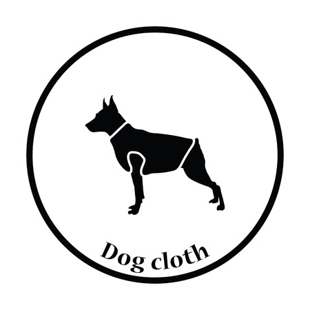 clothed: Dog cloth icon. Thin circle design. Vector illustration.