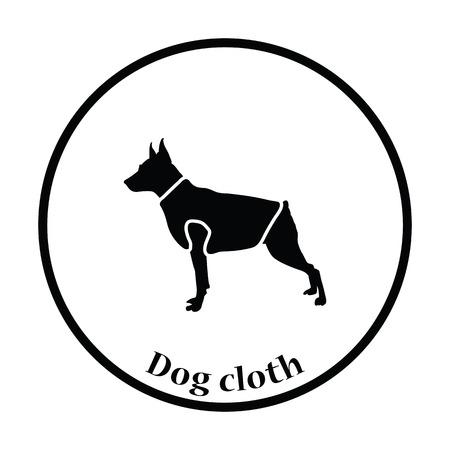 pet breeding: Dog cloth icon. Thin circle design. Vector illustration.