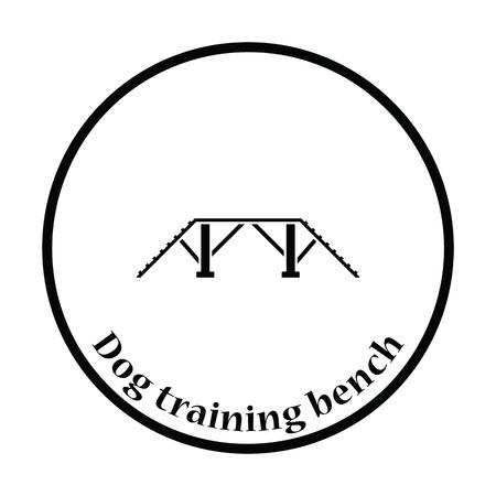 pet breeding: Dog training bench icon. Thin circle design. Vector illustration.