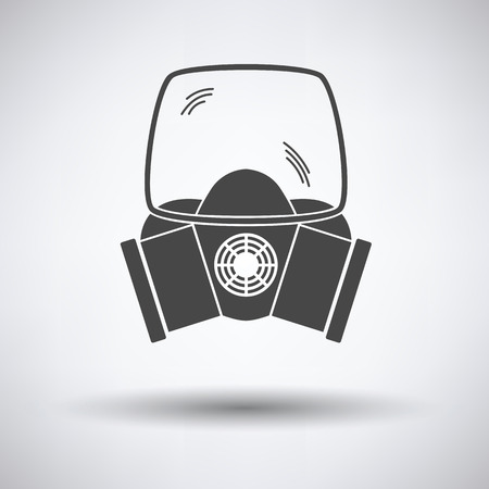preventive: Fire mask icon on gray background with round shadow. Vector illustration.
