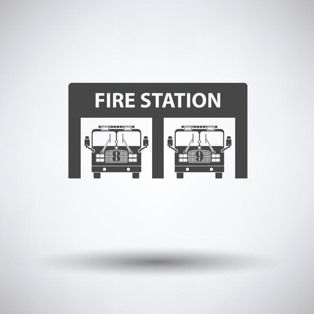 fire icon: Fire station icon on gray background with round shadow. Vector illustration.
