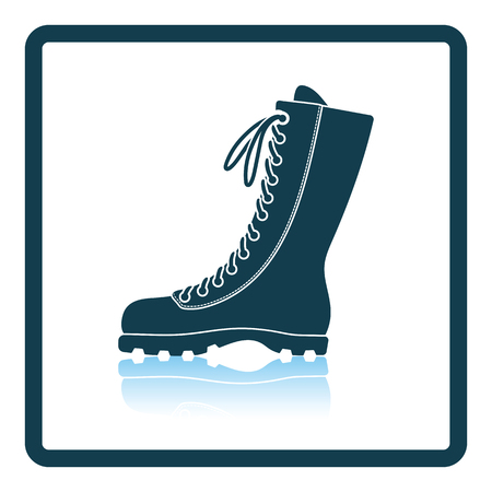 hiking boot: Hiking boot icon. Shadow reflection design. Vector illustration.