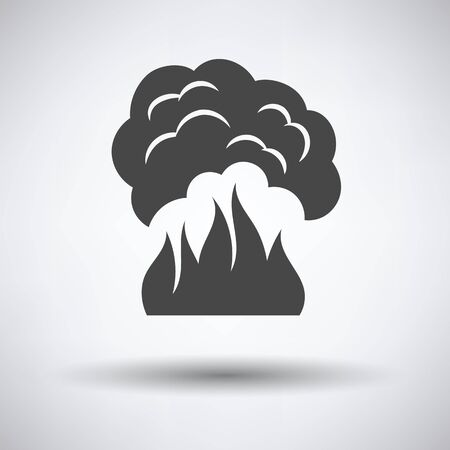 wildfire: Fire and smoke icon on gray background with round shadow. Vector illustration.