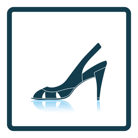 heel strap: Woman heeled sandal icon. Shadow reflection design. Vector illustration.