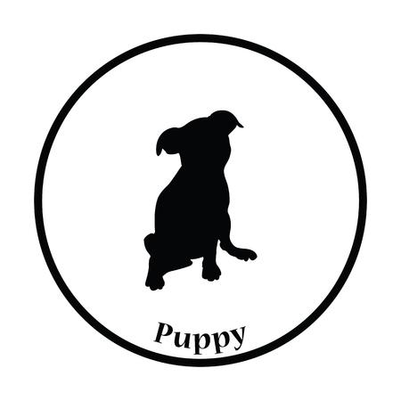 whelp: Puppy icon. Thin circle design. Vector illustration.