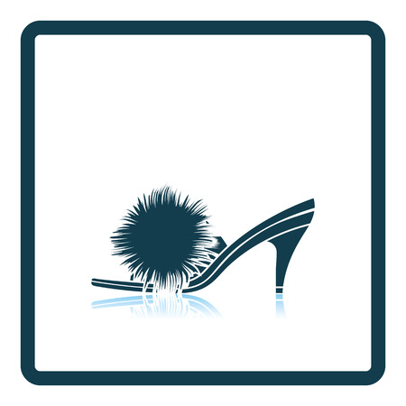 downy: Woman pom-pom shoe icon. Shadow reflection design. Vector illustration. Illustration