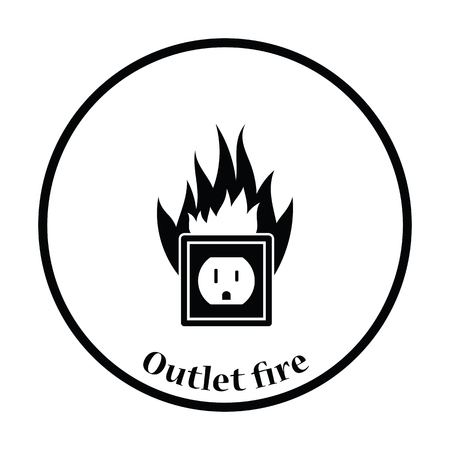 mains: Electric outlet fire icon. Thin circle design. Vector illustration. Illustration