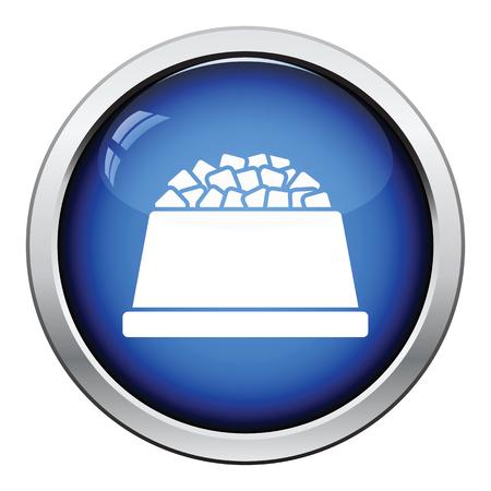 dog food: Dog food bowl icon. Glossy button design. Vector illustration.