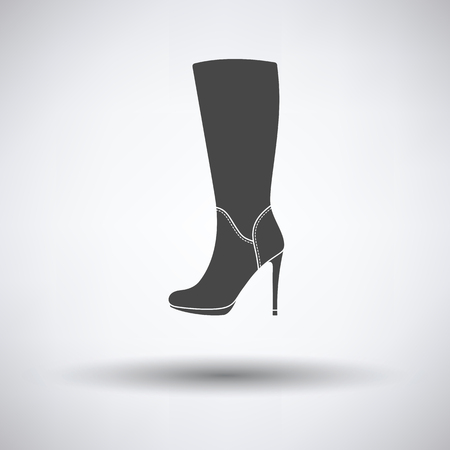 autumn woman: Autumn woman high heel boot icon on gray background with round shadow. Vector illustration.