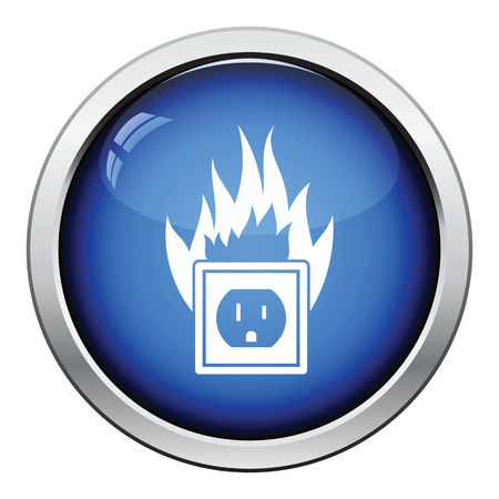 mains: Electric outlet fire icon. Glossy button design. Vector illustration.