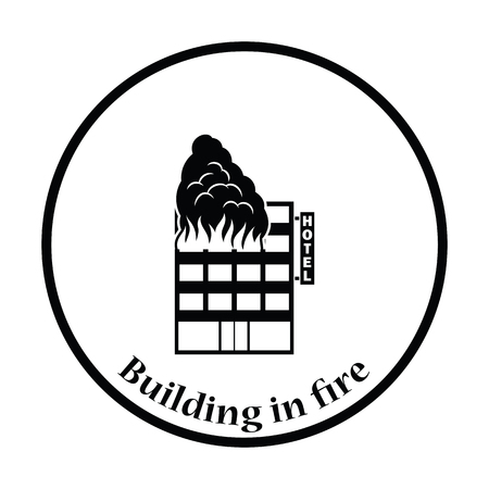 Hotel building in fire icon. Thin circle design. Vector illustration. Illustration