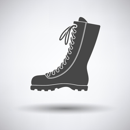 hiking boot: Hiking boot icon on gray background with round shadow. Vector illustration. Illustration
