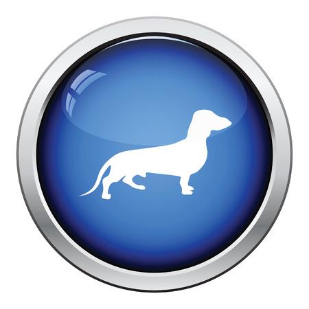 wag: Dachshund dog icon. Glossy button design. Vector illustration. Illustration