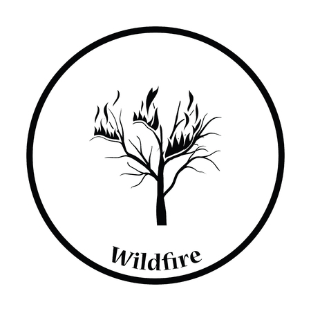 wildfire: Wildfire icon. Thin circle design. Vector illustration.