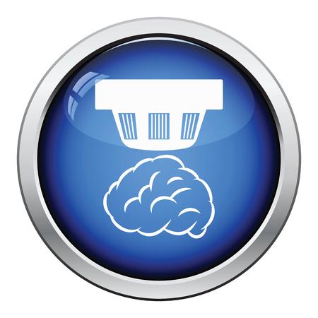 Smoke sensor icon. Glossy button design. Vector illustration.